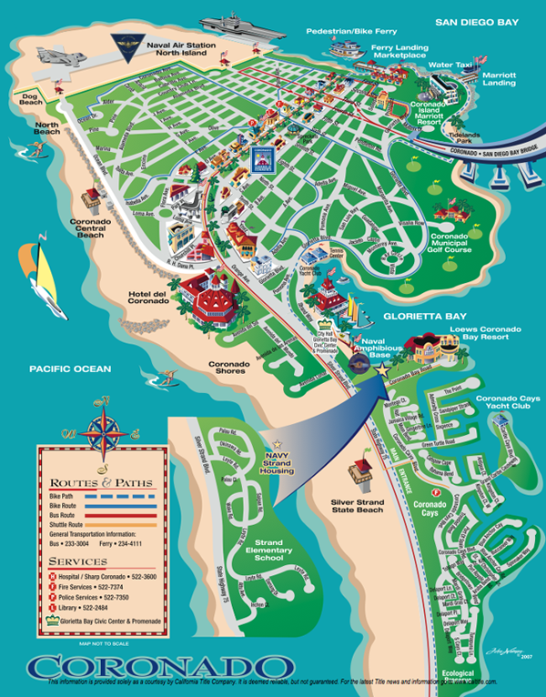 Coronado Island Map San Diego Map